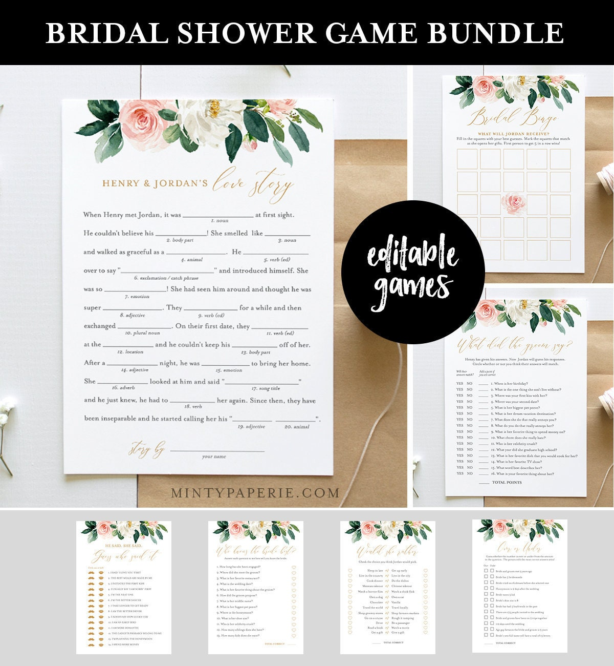 bridal shower game bundle editable games instant download customize name questions printable wedding shower game template diy 043bgb