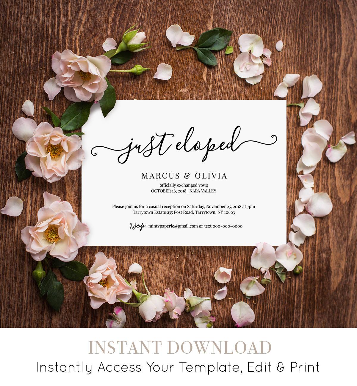 printable elopement announcement elopement invitation template