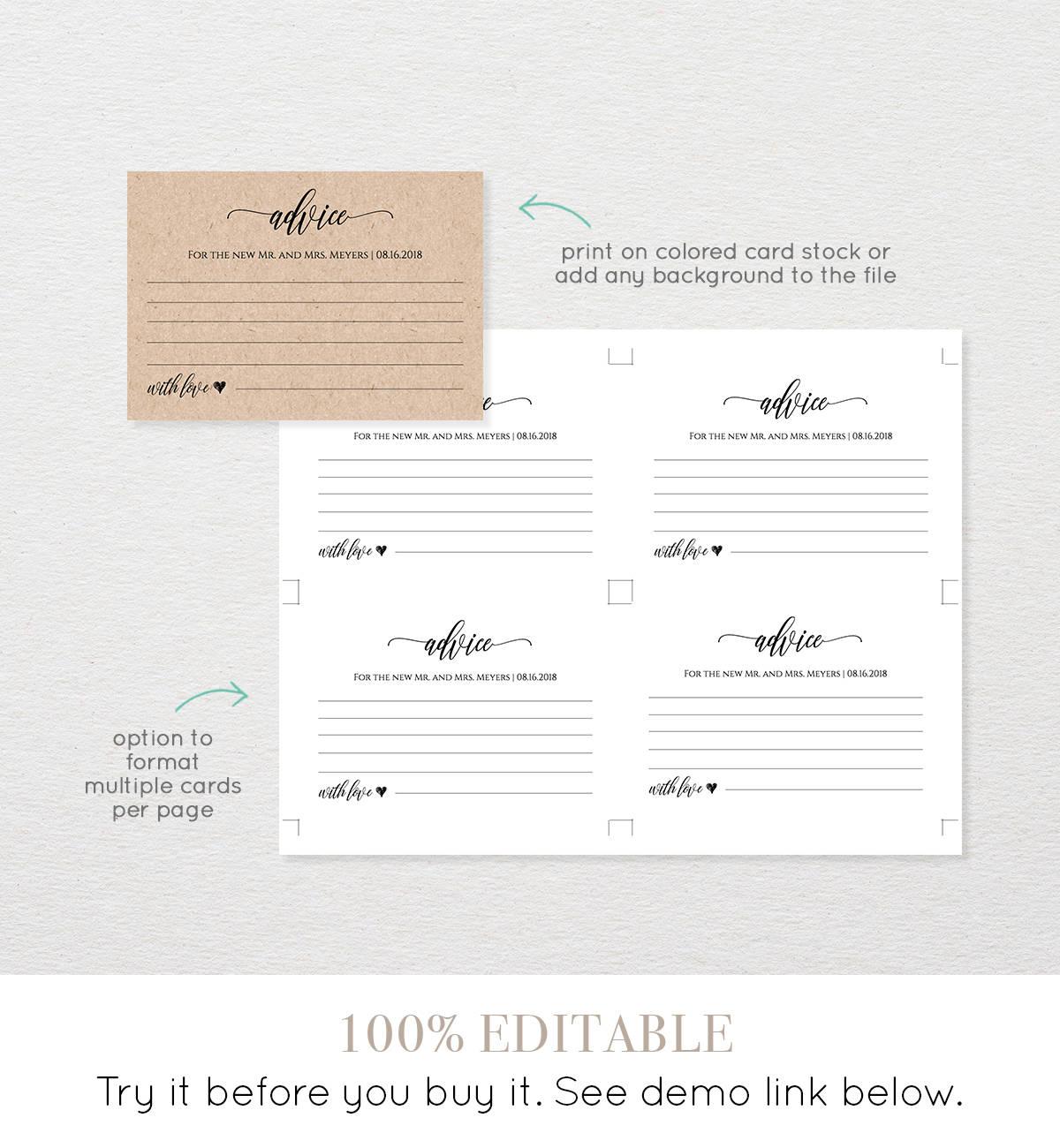 Wedding Advice Card Printable, Editable Template, Well