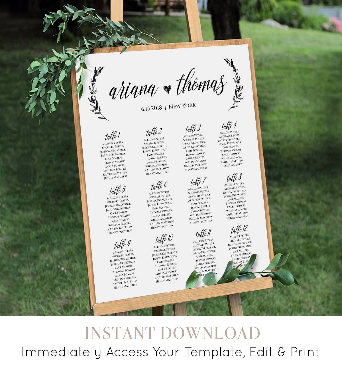 wedding seating chart  printable seating plan poster  table assignment  editable template