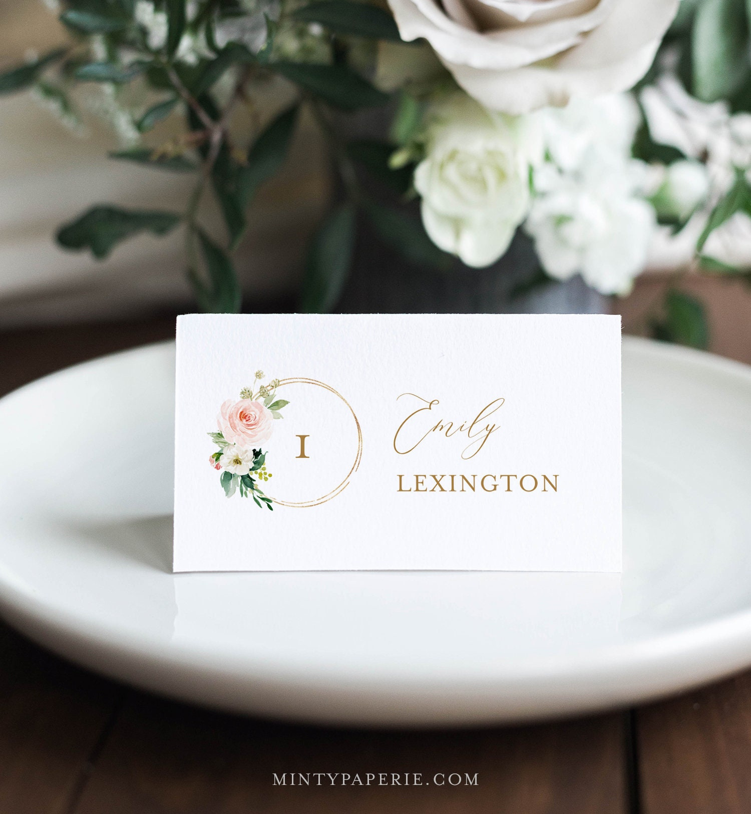 Editable  Seating Card Blush Boho Place Card Template Printable Wedding Escort Card Angela Floral INSTANT DOWNLOAD Name Card PDF