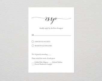 RSVP Card Template, Printable Wedding Response Card, Editable Text, DIY Wedding, Calligraphy, Instant Download, PDF Template, Digital #024A