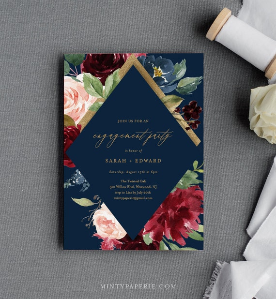 Engagement Party Invitation Template, Engaged Announcement Printable, INSTANT DOWNLOAD, 100% Editable Text, Merlot & Navy Floral #062-121EP