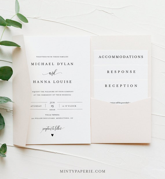 Minimalist Pocket Wedding Invitation Set, Modern Elegant Invite & Enclosure Cards, Instant Download, 100% Editable Template, Templett #008PF
