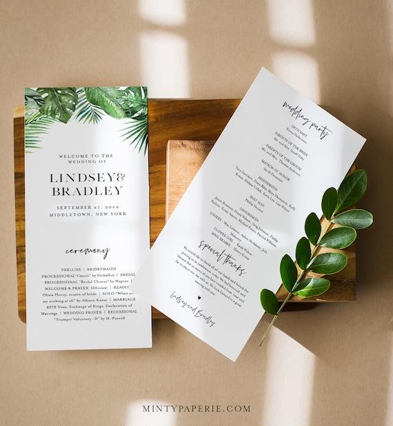 Tropical Wedding Program Template, Order of Service, Destination Beach Wedding, Instant Download, Editable, Printable, Templett #083-240WP