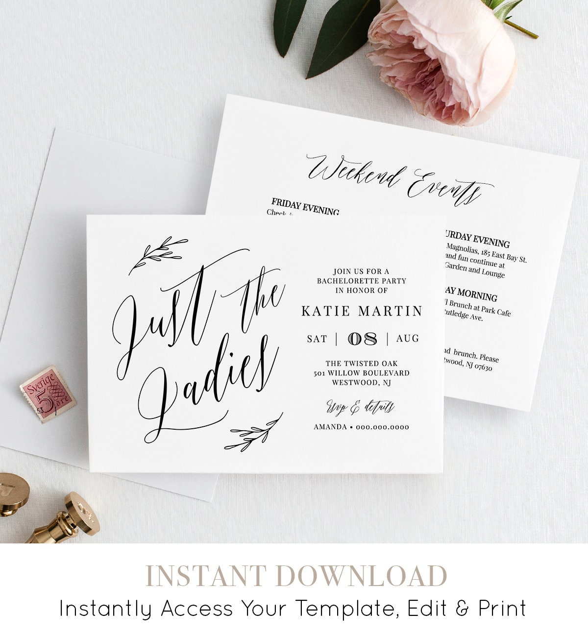 bachelorette party invitation itinerary instant download