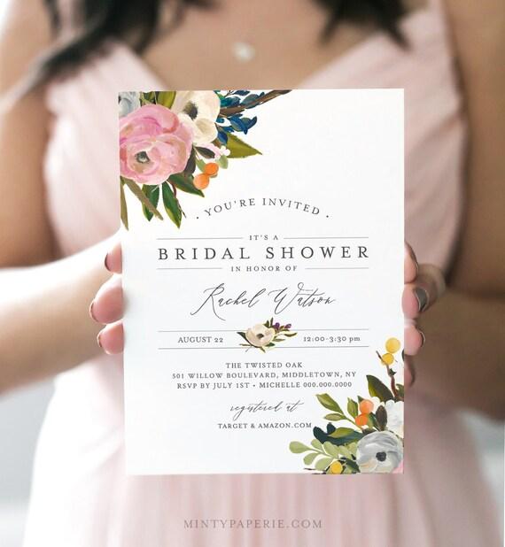 Floral Bridal Shower Invitation, INSTANT DOWNLOAD, Self-Editing Template, Printable Wedding Shower Invite, Boho, DIY, Templett #054-147BS