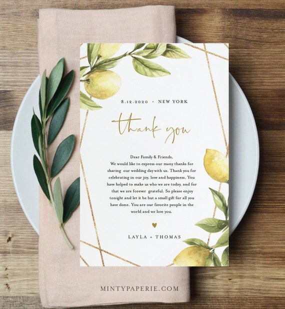 Lemon Thank You Letter, Napkin Note, Summer Wedding Menu Thank You, In Lieu of Favors, Editable Template, INSTANT DOWNLOAD, 4x6 #089-122TYN