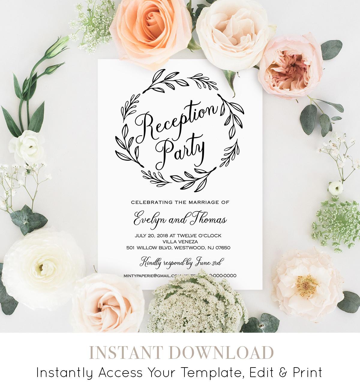 reception party invitation template wedding reception printable
