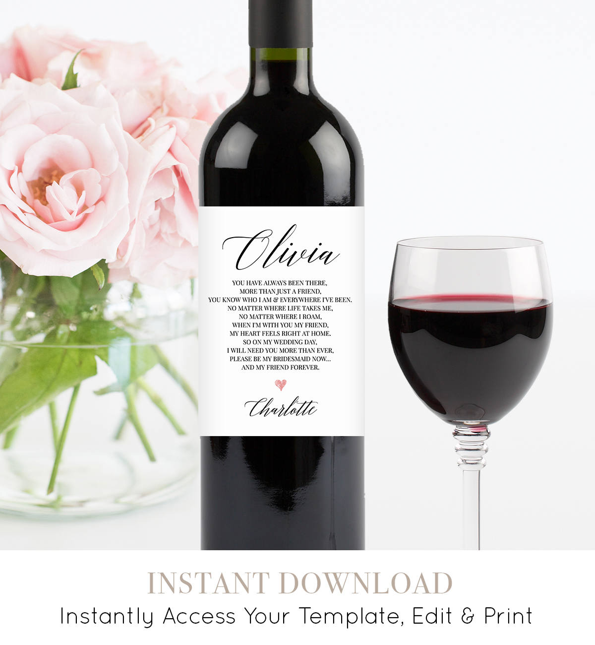 bridesmaid wine label template thank you gift will you be my
