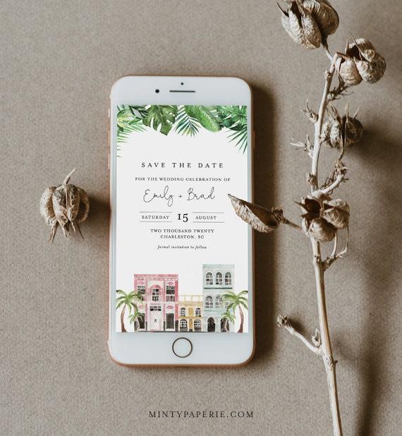 Charleston Save the Date, Electronic Invitation, Evite, Digital, Text Invite, INSTANT DOWNLOAD, 100% Editable Text, Templett #017B-116SDD
