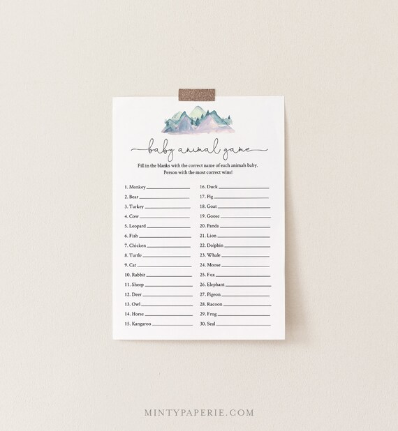 Baby Animal Game, Rustic Pine Mountain Baby Shower Game Template, Editable Text, Printable, Instant Download, Templett, DIY #063-132BASG