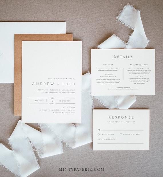 Minimalist Wedding Invitation Set, Simple, Modern, Clean Wedding Invite, RSVP, Detail, Editable Template, Instant Download, Templett #094A