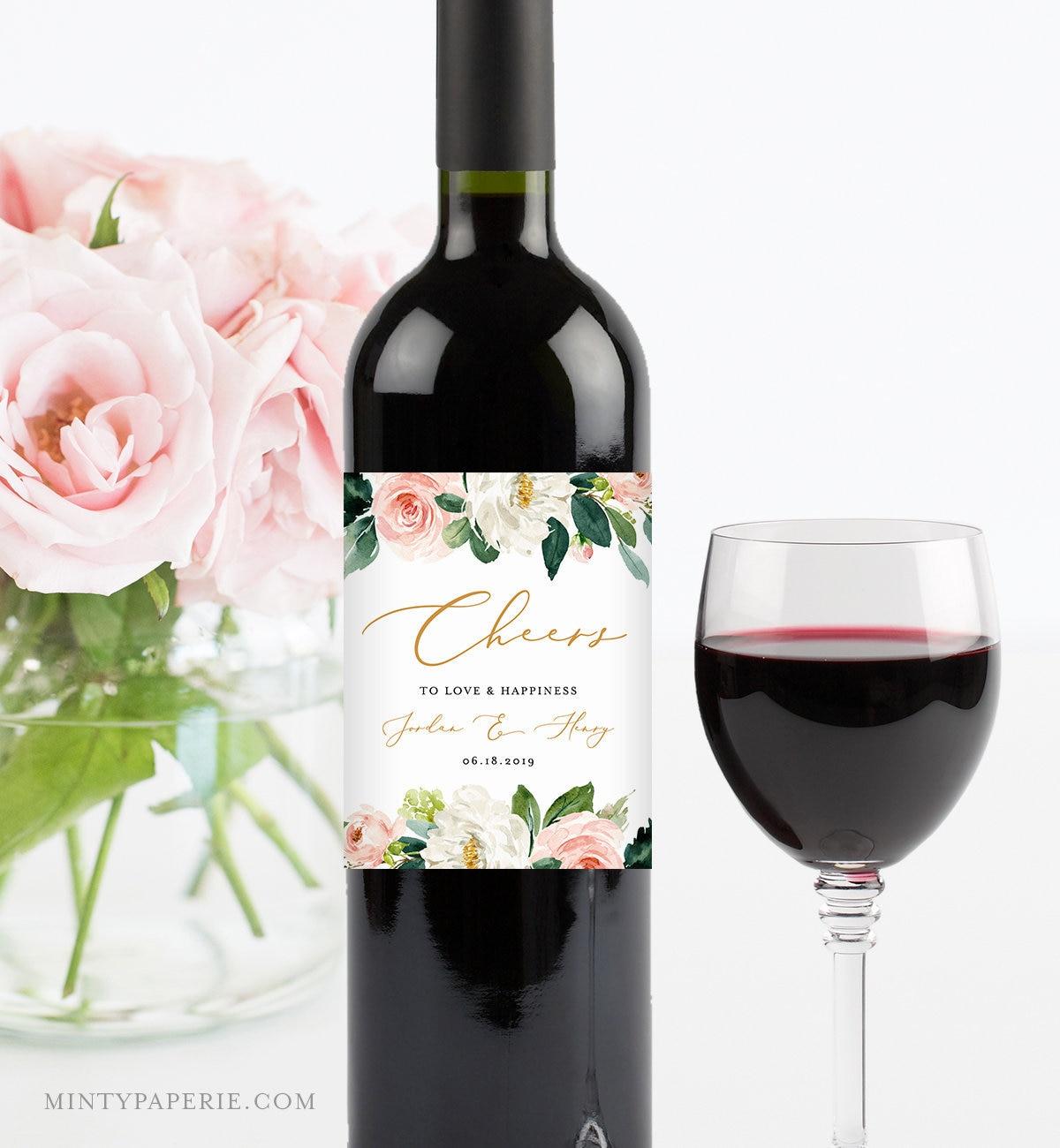 Self Editing Wine Bottle Label Template Printable Wedding Wine