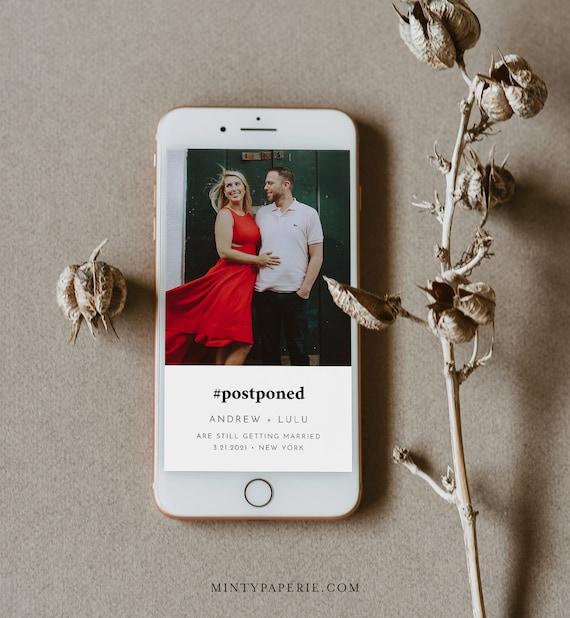 Postponement Wedding Date, #Postponed, Change of Plans, Digital Announcement, 100% Editable, INSTANT DOWNLOAD, Templett #094-112PA