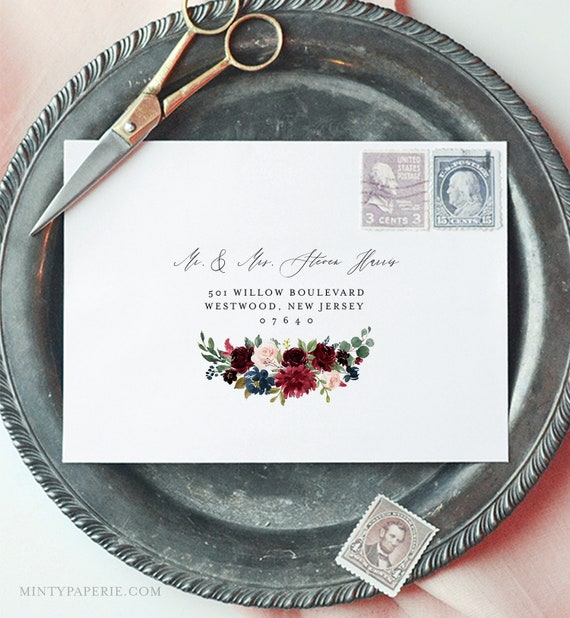 Boho Floral Envelope Template, Merlot Floral Wedding Envelope, Editable Address Printable, Instant Download, Templett, A1 & A7 #062-120EN
