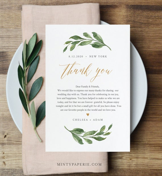 Greenery Thank You Note Template, Editable Wedding In Lieu of Favor Card, Printable Napkin Thank You Card, INSTANT DOWNLOAD #067-128TYN