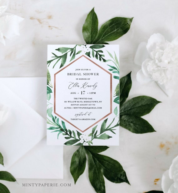 Greenery Bridal Shower Invite, Rose Gold Geometric Frame, Couples Shower Invite Template, 100% Editable Text, Instant Download #080-244BS