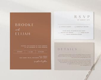 Minimal Wedding Invitation Set, Neutral, Earthy, Bohemian, Terracotta, Editable Template, Printable, Instant Download, Templett #0020A