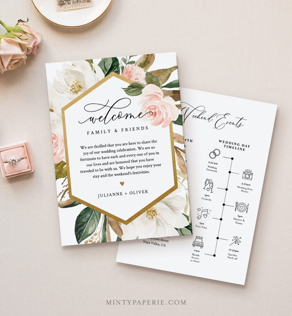 Wedding Welcome Letter & Itinerary Template, Order of Events Timeline, Welcome Bag Note, INSTANT DOWNLOAD, 100% Editable Text #015-121WB