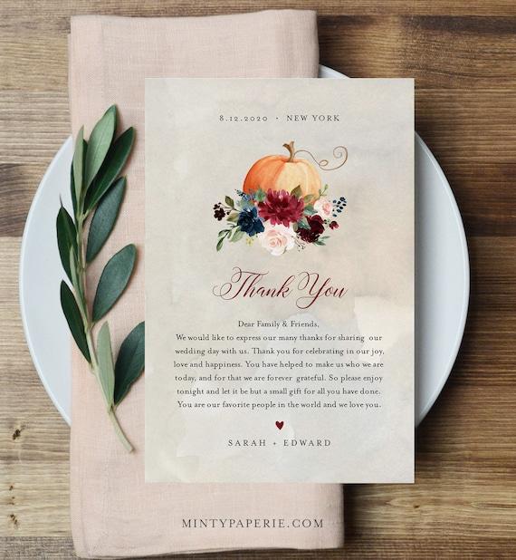 Pumpkin Thank You Letter, Napkin Note, Printable Wedding Menu Thank You, Editable Template, INSTANT DOWNLOAD, Templett, 4x6 #072-123TYN