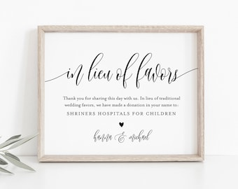 In Lieu of Favors Template, INSTANT DOWNLOAD, Editable, Printable Wedding Donation Sign, Thank You, Charity Card, Templett 8x10 #008-03S