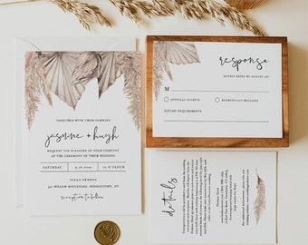 Bohemian Wedding Invitation Set, Boho Dried Foliage, Pampas, Palm Wedding Invite, RSVP, Detail, Editable Template, Instant Download #0022A