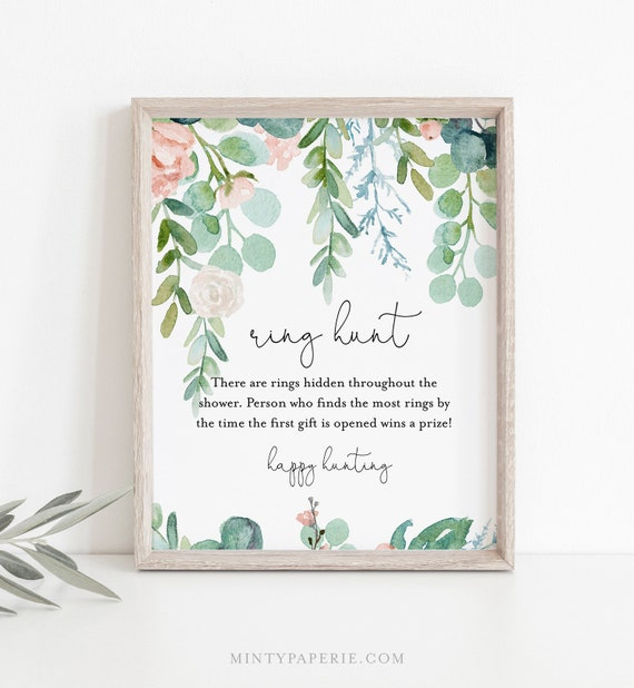 Ring Hunt Bridal Shower Game, Lush Garden Ring Game Template, Bridal Shower Printable, Editable, Instant Download, Templett #068A-297BG