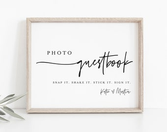 Photo Guestbook Sign, Modern Wedding Guest Book, 100% Editable Template, Minimalist Sign, Instant Download, Templett, DIY 8x10 #0009-30S