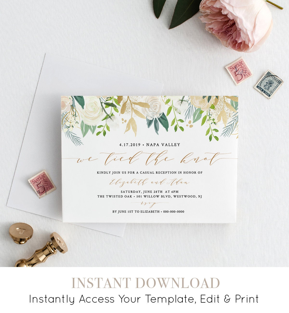 elopement invitation template instant download casual reception