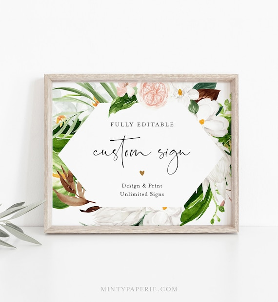 Tropical Custom Sign Template, Wedding or Bridal Shower Table Top Sign, Create Any Sign, INSTANT DOWNLOAD, Templett, 5x7, 8x10 #079-139CS