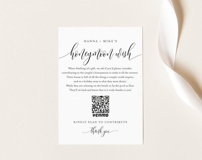 Honeymoon Fund Card, Venmo Honeymoon Wish Insert, Wedding Cash Gift, Minimalist, Editable Template, Instant Download, Templett #008-182EC