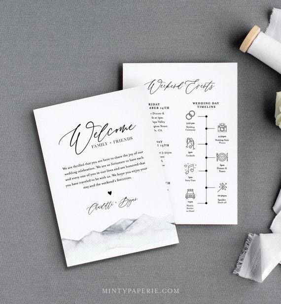 Mountain Welcome Letter & Timeline Template, Rustic Wedding Order of Events, Itinerary, INSTANT DOWNLOAD, 100% Editable Text #004-132WB