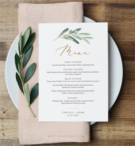 Wedding Menu Card Template, Watercolor Olive Greenery & Gold Wedding Dinner Menu Card, INSTANT DOWNLOAD, Editable Text, Printable #081-138WM
