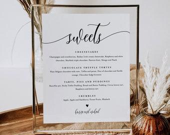 Dessert Menu Sign, Sweets Menu, Printable Minimalist Wedding Dessert Bar Station, Editable Template, Instant Download, Templett #008-103DM