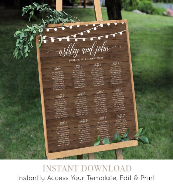 Seating Chart Template, Printable Wedding String Lights Seating / Table Number, 100% Editable, Instant Download, 18x24, 24x36 #014-215SC