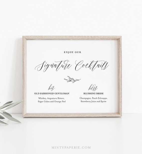 Signature Drinks Sign Template, Bride and Groom Signature Cocktails Printable, INSTANT DOWNLOAD, 100% Editable, Wedding Drink Menu #038-01S