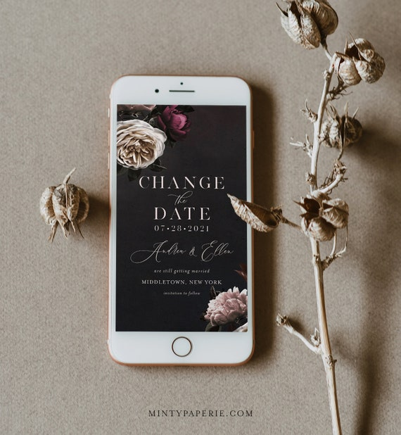 Change the Date, Postponed Wedding Date, Change of Plans, Digital Announcement, 100% Editable Text, INSTANT DOWNLOAD, Templett #009-116PA