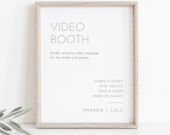 Video Booth Sign, Minimalist Wedding Guestbook Sign, Leave a Message, 100% Editable Template, Instant Download, Templett 8x10 #094-29S