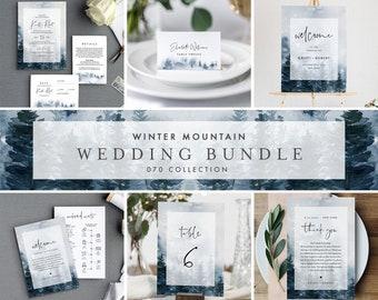 Winter Mountain Pine Wedding Bundle, Wedding Invitation Suite + Day Of Templates, Editable Text, Instant Download, Templett #070-BUNDLE