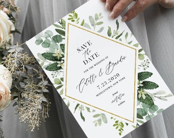Greenery Save the Date Template, INSTANT DOWNLOAD, Printable Boho Foliage Wedding Date Card, Editable Text, Templett, 4x6 & 5x7 #082-149SD