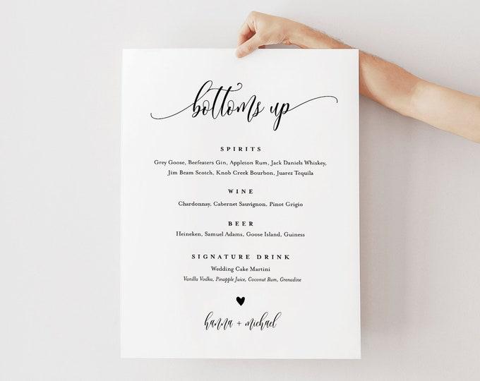 Bar Menu Sign, Editable Wedding Bar Menu Template, Alcohol Drink Menu, Bottoms Up, Instant Download, Templett 8x10, 18x24 #008-110BM
