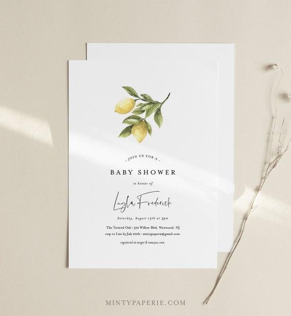 Lemon Baby Shower Invitation, Spring Summer Baby Shower, Lemon Greenery, Gender Neutral Baby Shower Invite, Instant Download, DIY #089-135BA