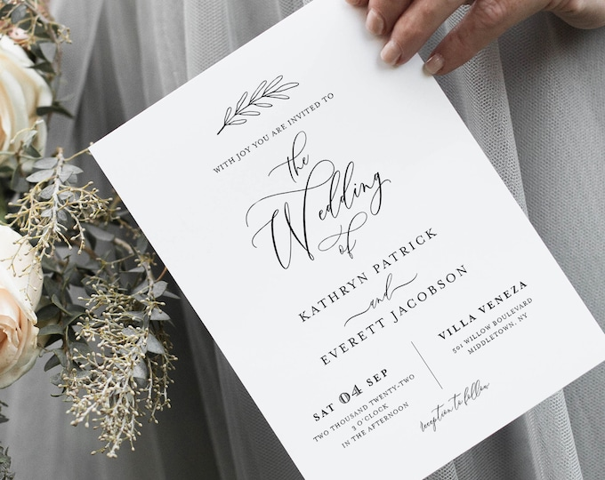 Minimalist Wedding Invitation Set Template, INSTANT DOWNLOAD, 100% Editable, Calligraphy Invite, RSVP & Detail, Printable, Templett #003A