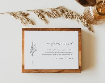 Minimal Enclosure Card, Lavender Wedding Invitation Insert, Baby Shower Insert, Editable Details & Info, Instant Download #0006C-167EC