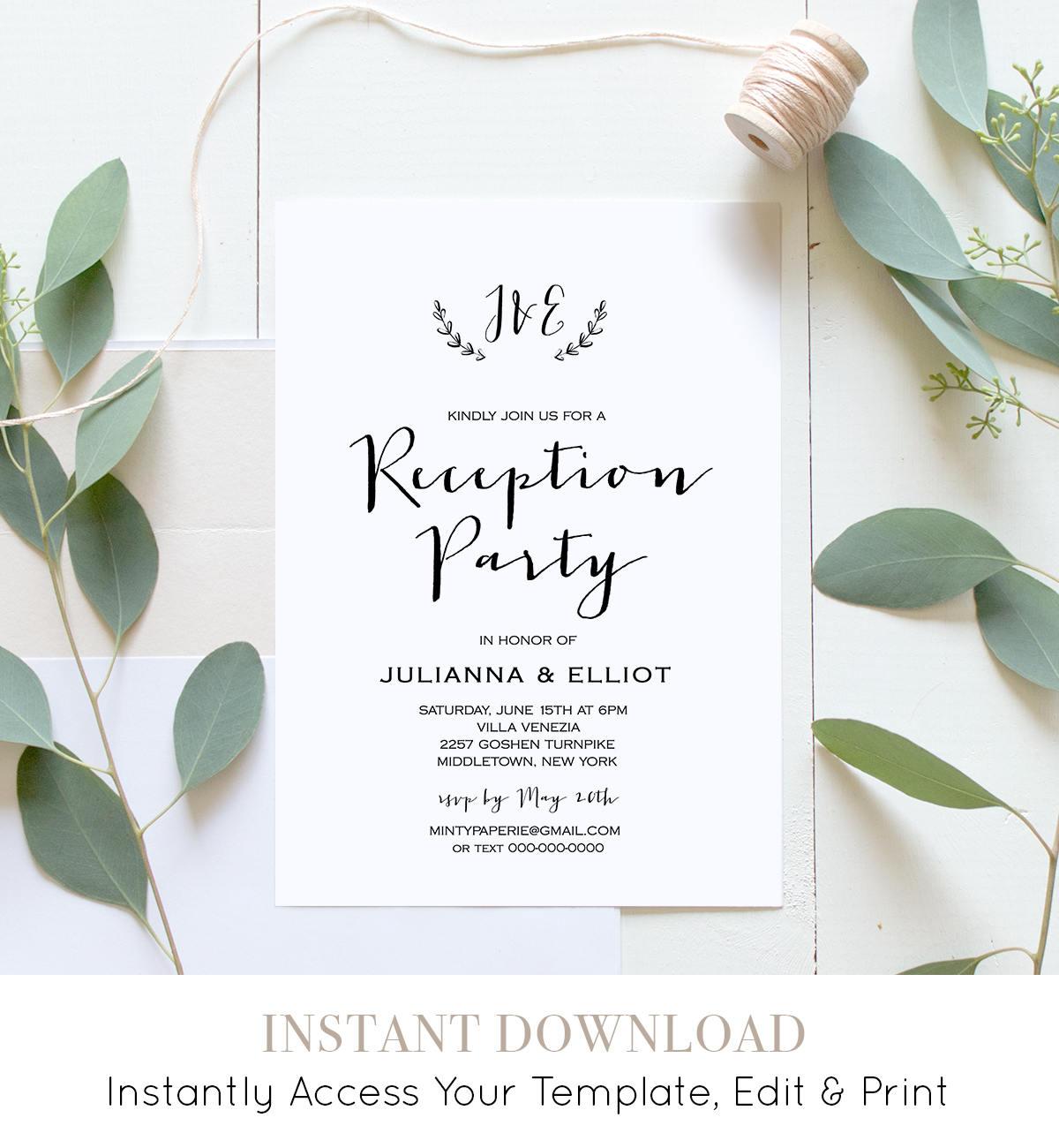 Reception Party Invitation Casual Wedding Reception Invite