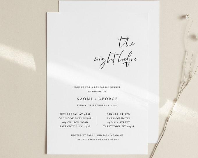 Modern Rehearsal Dinner Invitation Template, Minimalist Rehearsal Invite, Night Before, 100% Editable, Instant Download, Templett #096-151RD