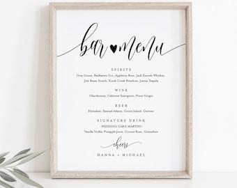 Bar Menu Sign, Editable Wedding Bar Menu Template, Alcohol Drinks Menu, Modern Calligraphy, Instant Download, Templett 8x10, 18x24 #008-19S
