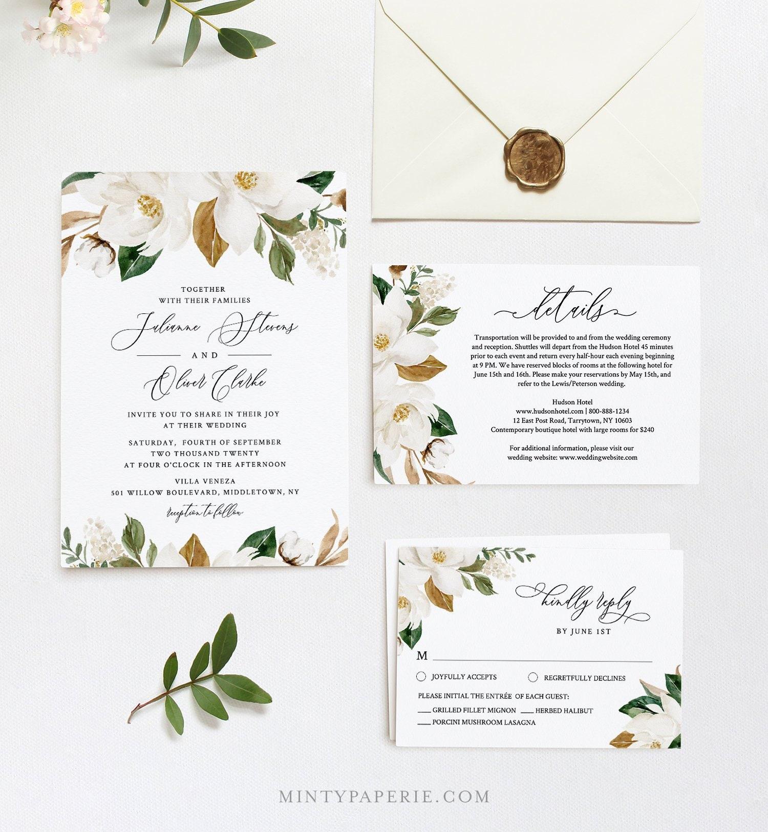 Magnolia Wedding Invitation Template DiY Southern Cotton