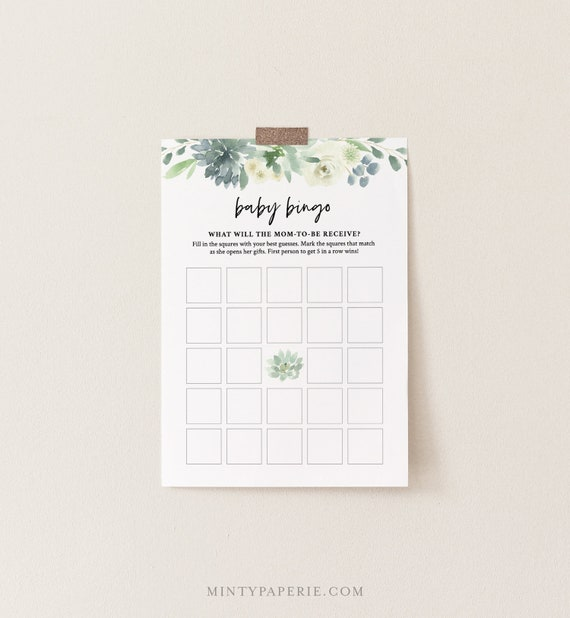 Baby Bingo Game, Printable Succulent Greenery Baby Shower Game, DIY Template, 100% Editable Text, Instant Download, Templett  #075-135BG